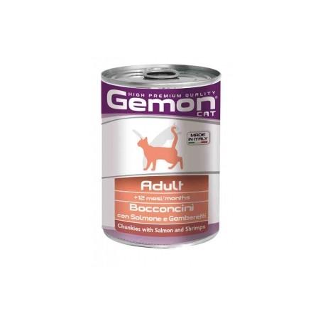 Gemon Cat Adult Bocconi Salmone E Gamberetti 415Gr