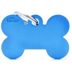 Medaglietta per Cani Osso Grande Alluminio Blu