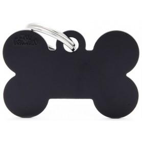 Medaglietta per Cani Osso Grande Alluminio Nero