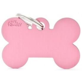 Medaglietta per Cani Osso Grande Alluminio Rosa
