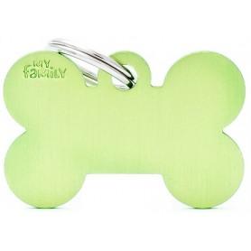Medaglietta per Cani Osso Grande Alluminio Verde