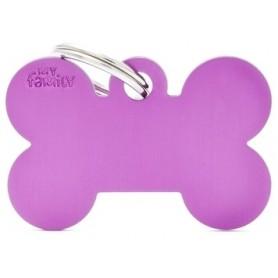 Medaglietta per Cani Osso Grande Alluminio Viola