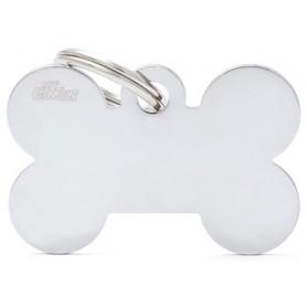 Medaglietta per Cani Osso Grande Cromato