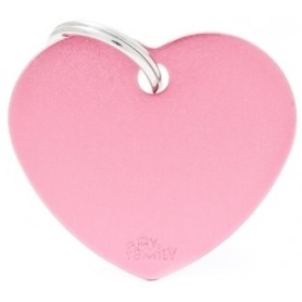Medaglietta per Cani Cuore Grande Alluminio Rosa