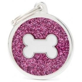 Medaglietta per Cani Cerchio Glitterato Rosa Grande Osso Bianco