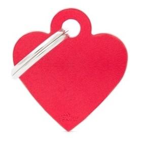 Medaglietta per Cani Cuore Piccolo Alluminio Rosso