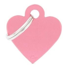 Medaglietta per Cani Cuore Piccolo Alluminio Rosa