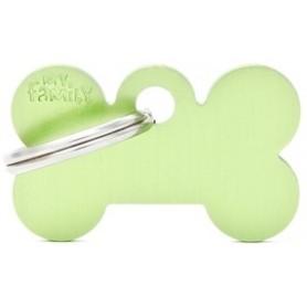 Medaglietta per Cani Osso Piccolo Alluminio Green