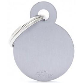 Medaglietta per Cani Cerchio Piccolo Alluminio Grey