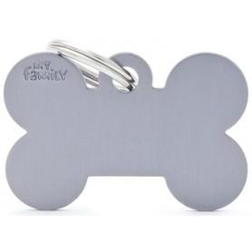 Medaglietta per Cani Osso Grande Alluminio Grey