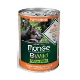 Monge BWild Grain Free Bocconcini In Salsa Anatra-Zucca e Zucchine Puppy & Junior 400Gr