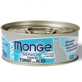 Monge Cat Filetti Di Tonno Con Acciughine Senior 80