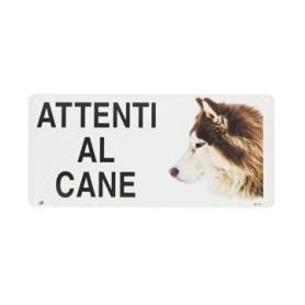 Cartello Attenti Al Cane Metallo Husky