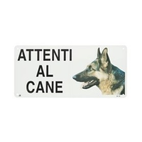 Cartello Attenti Al Cane Metallo Pastore Tedesco
