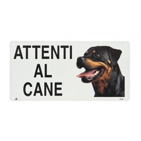 Cartello Attenti Al Cane Metallo Rottweiler