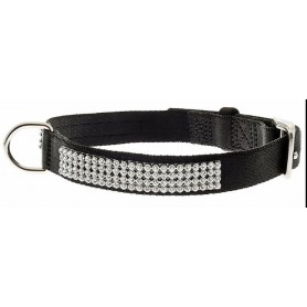 Collare Nylon Con Strass Nero 2x45Cm