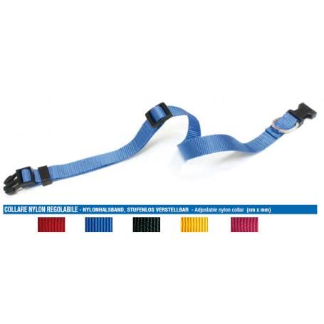 Collare Nylon Regolabile 21-28Cm Blu